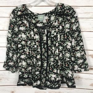 ANTHROPOLOGIE MAEVE floral/lace 3/4 blouse size 8